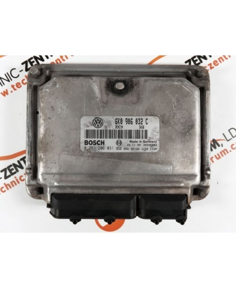 Centralina de Motor ECU Seat Leon 1.6I 6K0906032C, 6K0 906 032 C, 0261206031, 0 261 206 031, 261 206 031, 26SA5883