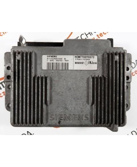 Engine Control Unit Renault Clio 1.4 7700112340, 7700 112 340, S115303102B, S115303102 B, HOM7700110372, HOM 7700 110 372
